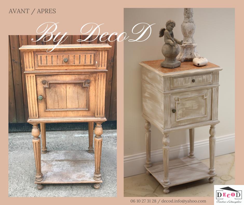 Avant apres relooking meuble chevet effet chaulé marbre rose