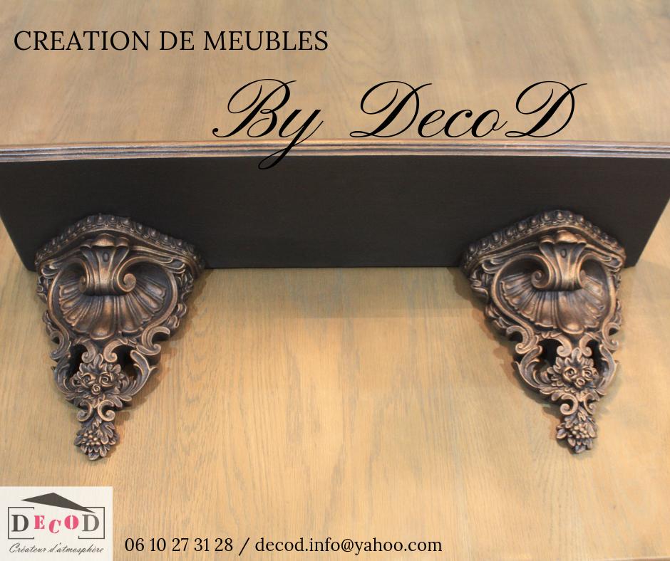 création relooking meuble etagère moulure noir patine cuivre