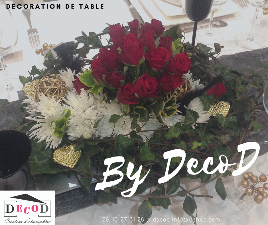 Décoration événementielle, Centre de table, Rose rouge