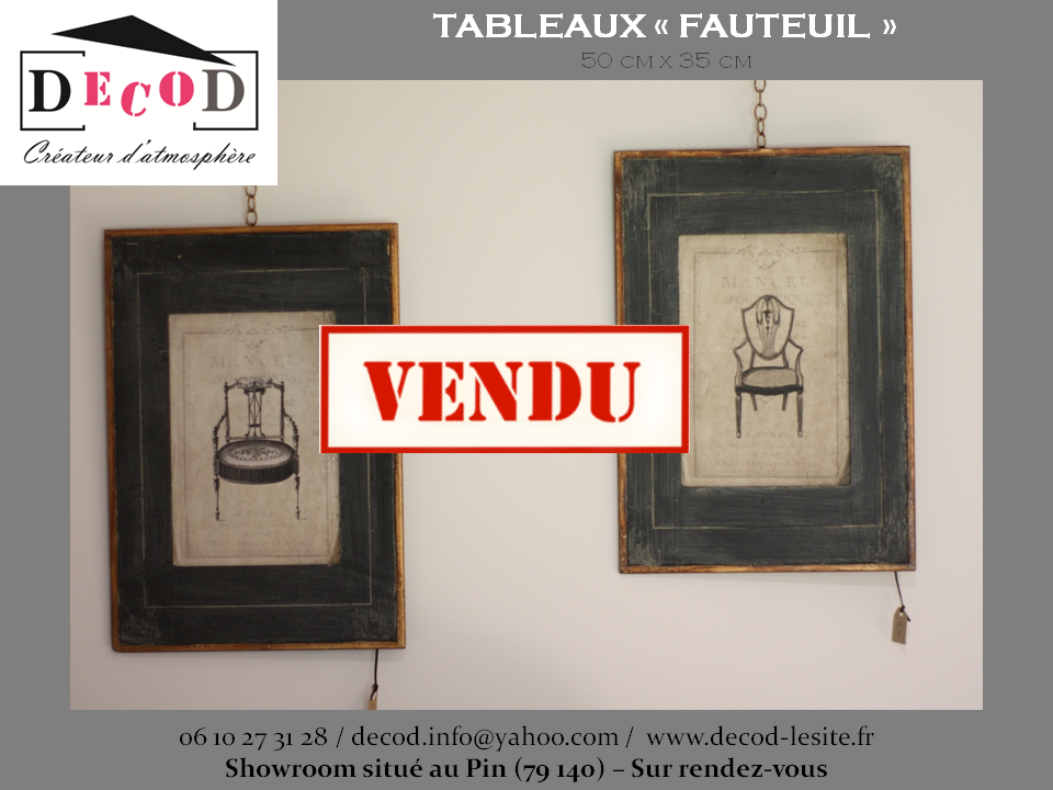 Tableaux fauteuils VENDU